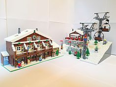 Risultati immagini per how to build a lego slope Lego Winter Village, Lego Village, Photo Lego, Lego Gingerbread House, Casa Lego, Lego Boards, Lego Club, Lego Christmas, Lego Mindstorms