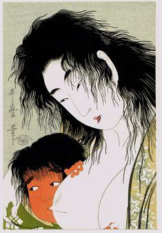 "Japanese Ukiyo-e Woodblock print Utamaro ""Kintaro & the Mountain Witch"""