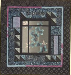 Say Yes To Yukata, Indigos, and Machine Sashiko 223-1 - quilt pattern by Willow Brook Quilts (great idea for a central panel)