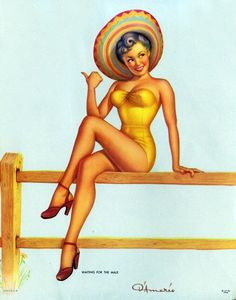 Vintage Mexican calendar girl pin up.. love these!