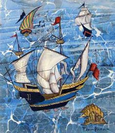 Kalyon Batik Pattern, Iranian Art, Miguel Angel, Time Art, Tile Design, Ancient History, Sailing Ships, Decoupage, Texture