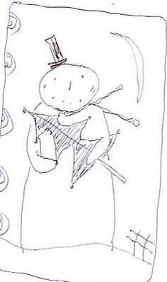 hook and needles  drawing for punchneedle  adorable snowman