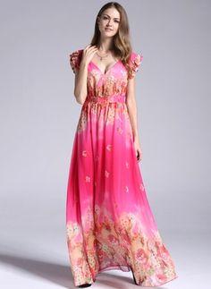 #floryday Chiffon Floral Cap Sleeve Maxi Casual Dresses#fresh#print#cozy#unique