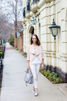johnston and murphy spring collection, spring outfit, suede jacket, oxfords | The Fox & She