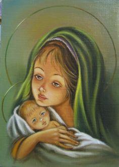 Дева Мария с Иисусом (холст,масло)-художник Ядвига Сенько