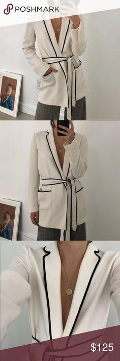 Cream Pajama Wrap Blazer w Black Contrast Piping Zara pajama style wrap blazer ties at waist in an off white bone color with black contrast piping. So beautiful and elegant. One of Zara's better quality pieces. Zara Jackets & Coats Blazers