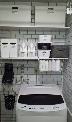 Pin on 収納 Laundry Closet, Laundry Room Storage, Small Laundry, Laundry Room Design, Laundry In Bathroom, Washroom, Small Storage, Diy Storage, Storage Ideas
