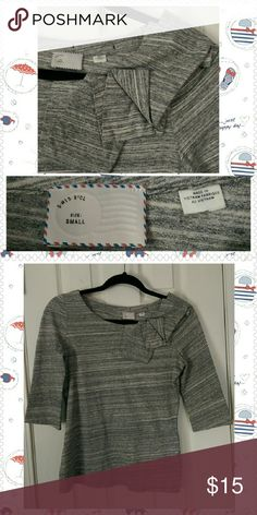 Anthropologie 9H15 STCL Brand Grey Top, Size Small 100% cotton, hand wash only. Great condition, without tags. Unique folding design on front that wraps around along half of the back collar. Soft and comfy! Anthropologie Tops Tees - Long Sleeve