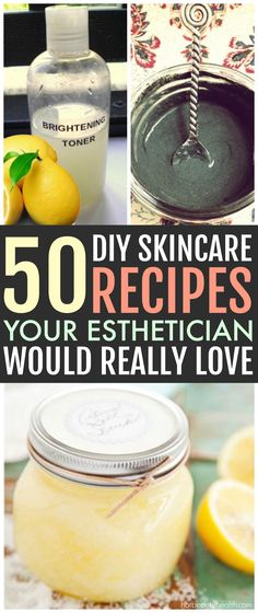 Check out these 50 diy homemade skin care recipes made from simple kitchen ingredients! Huge list of beauty recipes (i.e. scrubs, toners, lip balm, body butters, etc) for all skin types: acne-prone, oily, dry, anti-aging and normal. Hot Beauty Health #skincare #diyskincare #diy