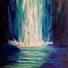 Blue Abstract Painting 50 Shades of Blue Wall Fall painting