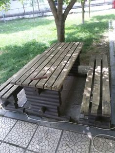 Scrubbing an old wooden bench