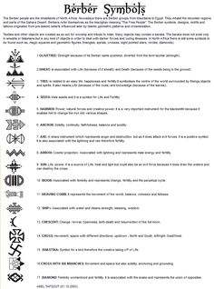 Berber Symbols can be found in weaving, face tattoos, jewelry & henna designs.