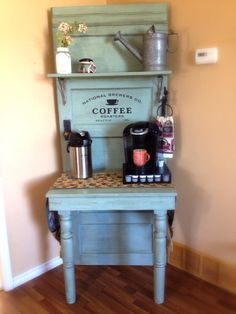 I'm in absolute LOVE with this gorgeous coffee bar that Honeysuckle Hobbies made from a door and old sign stencil from Funky Junk Interiors. http://funkyjunkinteriors.bigcartel.com
