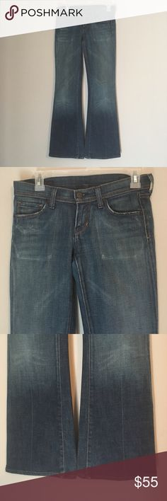 "Citizens Ingrid Low Waist Flair Wide Medium Jeans Preloved with tons of life left! A versatile medium wash with manufacturer fading and sit lower on your waist. Slight fraying to bottom hems and pockets, seen in photos. Inseam 30"" Citizens Of Humanity Jeans Flare & Wide Leg"