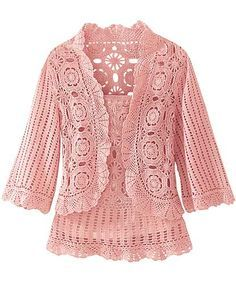 Pink Tank and Jacket free crochet graph pattern. How beautiful is this and in my favourite colour too