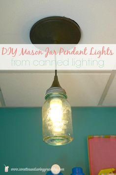 Learn how simply you can transform a boring canned or recessed light into an awesome pendant, complete with a cool vintage mason jar!