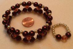 Chocolate stretch cuff bracelet and ring with glass pearls and amber glass beads $25