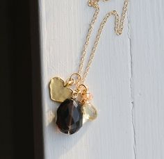 Smoky Quartz, Gold Heart, aaa Champagne Citrine Briolette Rondelles by designsbydangelo. Explore more products on http://designsbydangelo.etsy.com
