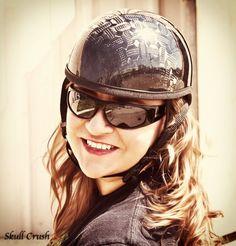 Meridith in a traditional half carbon fiber Skull Crush Helmet. This is diamond plate weave in a gloss finish. www.SkullCrush.com