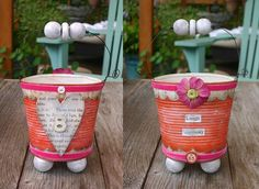 altered tin cans - oh the inspiration! site has many things for sale....love the items