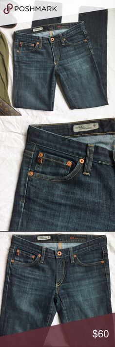 """Adriano Goldschmied Stilt Cigarette Skinny Jeans I Adore these beauties in so many ways. The fit of AGs are so flattering > the back pocket placement and size are spot on 😏  Their color is an intense blue, perfect distressing and whiskering. A sturdy pair of blues made of durable denim. Skinny but not super skin tight at the ankles, just right 6"""" across Fit more like a 25 they run small for a 26 and don't have much stretch. 15 inches across the hip at waistband. Tiny scratch on back of…"""