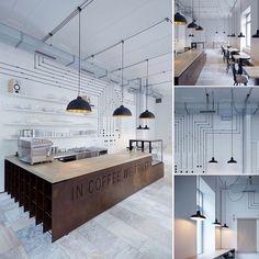 Cafetería con toque industrial Industrial, Cafe Design, Ceiling Design, Coffee Shop, Concrete, Public Spaces, Dining, Lighting, Kitchen