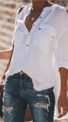 fantastic spring outfit ideas for women 33 Mode Outfits, Casual Outfits, Fashion Outfits, Womens Fashion, Fashion Tips, Fashion Trends, White Shirt Outfits, White Shirts, Simple Outfits