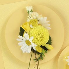 Yellow Daisy and Dahlia corsage