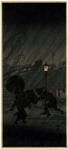 """Shotei, Takahashi 1871 - 1945, """"Sudden Night Rain near a Bridge"""" / Castle Fine Arts"""