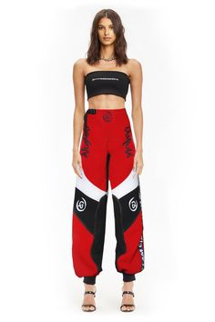 """The Electra red pants by I Am Gia worn by the Request Dance Crew dancers in Ciara's """"Level Up"""" video clip Tv Show Outfits, Stage Outfits, Cute Outfits, Bape, Dressy Dresses, Nice Dresses, Hypebeast Outfit, Balenciaga, Fendi"""