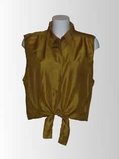 1970's Mustard Front Tie Blouse from www.sixesandsevensvintage.com at £15.00