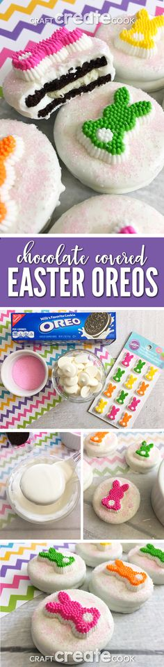 These White Chocolate Covered Easter Bunny Cookies are easy and delicious! via @CraftCreatCook1