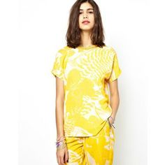 Essentiel Antwerp Printed Shell Top with Jewel Neckline