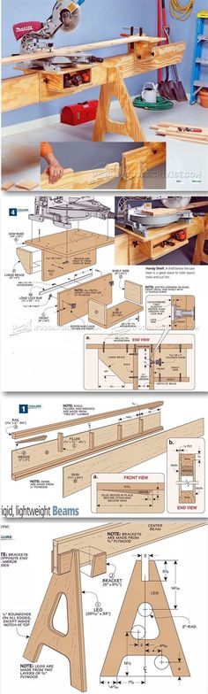 Folding Miter Saw Stand Plans - Miter Saw Tips, Jigs and Fixtures | WoodArchivist.com