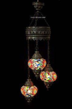 Mosaic Chandelier, Mosaic Lamp, Turkish Lamp, Moroccan Lantern - - Amazon.com