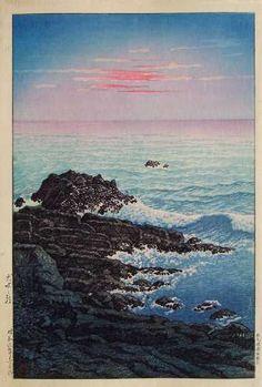 "Hasui KAWASE (1883-1957) - Shin Hanga. ""Morning at Inubo"" (""Inubo no Asa""). Circa 1931. 9-1/2"" x 14-1/4""."