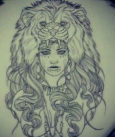 Afbeeldingsresultaat voor girl with lion headdress tattoo Lion Head Tattoos, Lion Tattoo, Love Tattoos, Beautiful Tattoos, Tattoo Girls, Girl Tattoos, Tatoos, Piercings, Piercing Tattoo