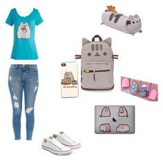 """""""Pusheen Back to school"""" by emos-are-the-beet ❤ liked on Polyvore featuring Frame Denim, Converse and OPI"""