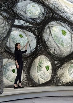 Beetle shell inspired pavilion is woven by robots (Video) : TreeHugger