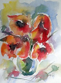 ARTFINDER: Poppies by Kovács Anna Brigitta - Original watercolour painting on high quality watercolour paper. I love landscapes, still life, nature and wildlife, lights and shadows, colorful sight. Thes...