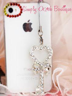 Ooak Crystal Key Phone Pluggy/Iphone plug/ Headphone by Funwithartz, $18.80