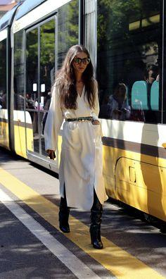Diletta Bonaiuti, stylist at Luisa Via Roma, outside the Fendi show during Milan Fashion Week. (Photo: Lee Oliveira for The New York Times)