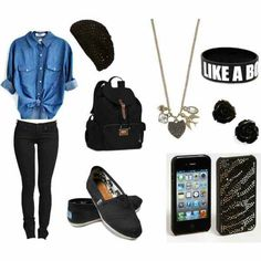 Comfortable clothes • high school wear • iphone case • toms • beanie • backpack