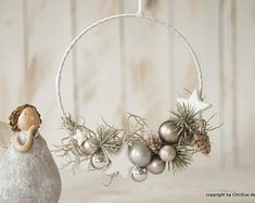 A small, fine door ring made of a wire ring that was wrapped with white satin ribbon. Shiny glass balls, glitter stars and artificial jungle grass adorn the small door decoration dimensions D Hanger ribbon white satin approx. Christmas Advent Wreath, Christmas Date, Christmas Door Decorations, Christmas Mood, White Christmas, Christmas Crafts, Bohemian Christmas, Blue Home Decor, How To Make Wreaths