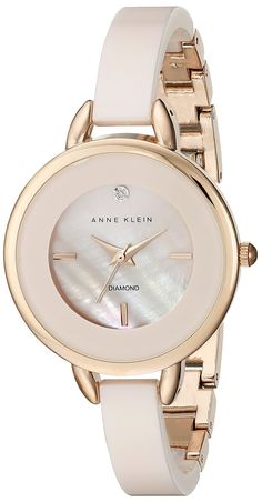 Anne Klein Women's Diamond-Accented Light Pink Ceramic Bangle Watch ** More info could be found at the image url. Trendy Watches, Elegant Watches, Beautiful Watches, Watches For Men, Ladies Watches, Anne Klein, Luxury Watches, Fashion Watches, Bracelet Watch