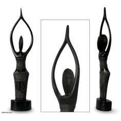 NOVICA Fair Trade Wood Sculpture (£76) ❤ liked on Polyvore featuring home, home decor, sculpture, art gallery, black, wood - west african culture, novica, wood sculpture, wood home decor and wooden sculptures