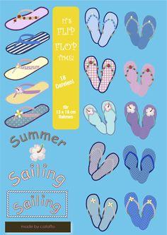 *❤ Die ideale Sommerdatei*      ❤ Folgende 18 Dateien sind in dem Set       enthalten:     *- Zwei Flip Flops durchgestickt jeweils         ca.125x...