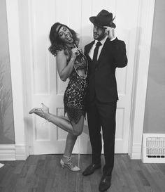 1920s gatsby outfit fashion 20s fashion express two piece pencil skirt crop top black and white cute couple hat boyfriend mens fashion 1920s fun NYE party happy dancing