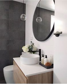 Powder room- like that the toilet is tucked away when you walk through the door - Interior - Bathroom Decor Bathroom Interior, Modern Bathroom, Small Bathroom, Small Bathtub, Interior Doors, Bathroom Ideas, Dark Floor Bathroom, Paint Bathroom, Wainscoting Bathroom