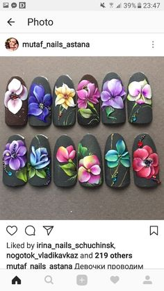 Bột 3d Nail Designs, Flower Nail Designs, Colorful Nail Designs, Beautiful Nail Designs, Beautiful Nail Art, Gorgeous Nails, Tropical Flower Nails, 3d Flower Nails, 3d Acrylic Nails